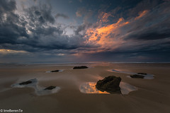 Peace after the Storm (IrreBerenTe Natalia Aguado) Tags: summerstorm cloudscape clouds sky beach longexposure irreberentenataliaaguado sanvicentedelabarquera cantabria rocks peace sunset reflect reflections nature landscape naturelandscape explore