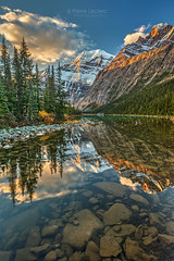 Reflection of Mount Edith Cavell (PIERRE LECLERC PHOTO) Tags: edithcavell mount mountain lake river calm sunrise morning water reflection nature landscape natural canada alberta jasper jaspernationalpark canadianrockies rockies rockymountains glaciers peak summit snowcappedmountains wilderness hiking roadtrip places travel destination rocks clear pure pristine solitude alone fishing idyllic beauty naturalbeauty naturalwonders pierreleclercphotography canon5dsr