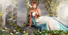 "Clementiss ""PHOTO CONTEST UNA & MUSHILU"" (meriluu17) Tags: una foxcity garden dress silk silks scarf mushilu princess sitting yard flower flowers light lights people portrait woman teal blue moss"