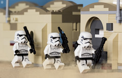 On Patrol in Jedha City (Jezbags) Tags: lego legos toy toys macro macrophotography macrodreams macrolego canon60d canon 60d 100mm closeup upclose starwars stormtrooper stormtroopers troopers trooper jedha city sand patrol