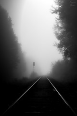so unredeemed (PhotonenBlende) Tags: railway gleise track rail schiene fog mist nebel silhouette art kunst fineart bw schwarzweiss lowkey melancholy foggy depressive depresiv upright hochkant unheimlich eerie scary outdoor sigmaex nikon d80