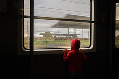 . (krameroneill) Tags: train france hoodie childhood family fujifilm krameroneill