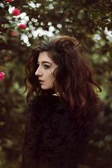 Isabella (Ella Ruth) Tags: portrait girl woman wildhair garden flowers floral roses brownhair brunette profile faceinprofile beauty headshot blackdress dark naturallight nikon d750 50mm 14 ellaruth photographer london bristol shropshire shrewsbury leicester model