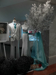 Dress Code Hotel (Steve Taylor (Photography)) Tags: suit dresscode hotel yvonnecreative silk sash tie dress wedding cake art design mannequin selectivecolour black blue grey pink pastel asia city singapore leaves hedge topiary