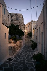 Lefkes, Paros (paologmb) Tags: alley cables light warm sunset colors street island 24mmleicamelmarit leicamtyp240 greece texture cyclades lefkes paros