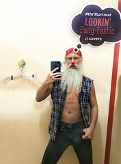 Lookin Fang ! (Cowboy Tommy) Tags: sleeveless plaid unbutton chest sex sexy hot rugged manly beard hairy facefur bandana jean tight package bulge rubbed crotch levis dressingroom mirror selfie