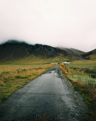 Iceland (desomnis) Tags: iceland island travel traveling nature clouds path landscape landscapes landscapephotography desomnis canon5dmarkiv canon5d 5d canon tamron tamron2470mmf28 2470mm field greenfield portraitformat mountains lowclouds rain wet europe