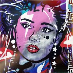 Street Art, North Street (firstnameunknown) Tags: iphoneography hipstamatic bristol bedminster northstreet upfest urban art graffiti mural streetart face portrait woman neon