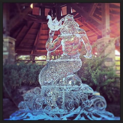 The sun was angry that day my friends, but King Triton basked in his glory! #merfest2017 #fullspectrumice #custom #icesculpture #thinkoutsidetheblocks #brrriliant - Full Spectrum Ice Sculpture