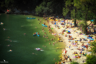 Beach At Vallon-Pont-d'Arc At The Ibie River