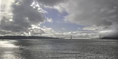 Golden Gate Bridge (Laurie4593) Tags: sanfrancisco alcatraz california hdr clouds cloudy bay sailboat bridge goldengatebridge water sea sailing moody landscape shimmering