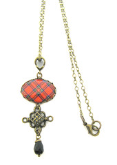 Ancient Romance Series - Royal Stewart (Red) Tartan 18x25mm Oval Bezel with Celtic Bail and Charm and Onyx Black Czech Glass Bead