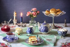 Good Old Fashioned Cream Tea. (memoryweaver) Tags: stilllife memoryweaver teatime cupoftea tabletop table silverware silver chamberstick candle linen vintage embroidered hand china blueandwhite strawberryjam clottedcream scones creamtea tea