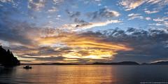 2017-08-14 Sunset (02) (2048x1024) (-jon) Tags: anacortes skagitcounty skagit washingtonstate washington salishsea fidalgoisland sanjuanislands pugetsound washingtonpark sunsetbeach rosariostrait pacificnorthwest pnw cloud clouds sky sunset water reflection stitched composite a266122photographyproduction pacificocean pacific ocean boat silhouette