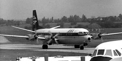 BEA Vickers Vanguard arrives at Birmingham Airport - Summer 1972 (terence.stilgoe) Tags: britishairways vickersvanguard birminghamairport elmdon 1972 bea britisheuropeanairways