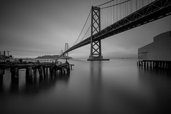 Bay Bridge Before Dusk with 10-Stop ND Filter (Jemlnlx) Tags: canon eos 5d mark iv 4 5div 5d4 san francisco ca california ef 1635mm f4 is usm l bay bridge rincon park point tripod gitzo long exposure water reflection gnd nd graduated neutral density filter filters stacked bw 30 10stop tiffen blackwhite blackandwhite black white