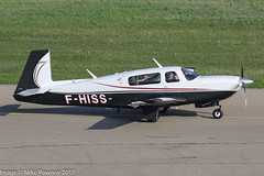 F-HISS - 2005 build Mooney M.20R Ovation, taxiing for departure on Runway 24 at Friedrichshafen during Aero 2017 (egcc) Tags: 290361 aero aerofriedrichshafen aerofriedrichshafen2017 bodensee edny fhiss fdh friedrichshafen lightroom m20r mooney n117hr ovation rocketsky