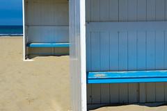 Two beach chairs (Jan van der Wolf) Tags: map14268ve beach beachchairs katwijk herhaling repetition sand strand sea zee seascape beachhuts