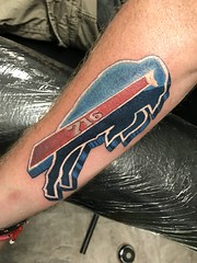 Buffalo bills tattoo by Wes Fortier @ Burning Hearts Tattoo Co. Waterbury, CT. Instagram: @wesdtc | Facebook: facebook.com/burningheartstattoo