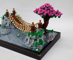 The Last Stand (Robert4168/Garmadon) Tags: lego swinging bridge japanese color water light grey rock war contest thevictorsway tree pink flowers