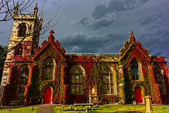 Liberton Kirk Edinburgh 22 Sept 2017 -21.jpg (JamesPDeans.co.uk) Tags: churchyard landscape season prints for sale red religion unitedkingdom man who has everything britain wwwjamespdeanscouk landscapeforwalls europe uk autumn edinburgh redcreepers nature greatbritain steeple church leaves spire digital downloads licence scotland gravestones cemetry tower gb windows architecture doors lothian colour plants james p deans photography