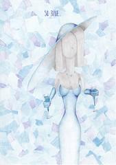 So blue. (Klaas van den Burg) Tags: blue blues drinks tear woman pencil ballpoint