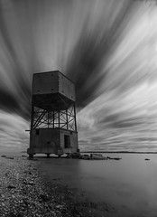 Tower (selvagedavid38) Tags: long exposure black white thames radar ww2 defence structure disguise clouds river tide time essex tilbury fort coalhouse derilict shore water history estuary neutral density filter tower