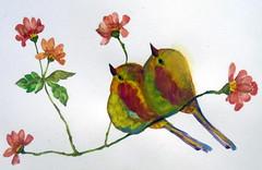 Bird, by Naysa - DSC01621 (Dona Minúcia) Tags: art painting watercolor study paper animal bird cute couple arte pintura aquarela pássaro passarinho gracinha fofo flower flor pair casal dupla