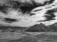 Bisti Badlands-20 (jamesclinich) Tags: bisti badlands danazin wilderness farmington newmexico nm desert sky clouds landscape handheld availablelight olympus omd em10 mzuiko1240mmf28pro adobe photoshop topaz denoise detail jamesclinich blackwhite bweffects monochrome