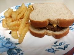 Cheeseburger And Fries. (dccradio) Tags: lumberton nc northcarolina robesoncounty samsung galaxy smj727v sandwich hamburger bread cheeseburger plate corelle fries frenchfries crinklefries indoors inside