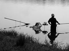 Fishing expedition (louise peters (back and catching up)) Tags: fisherman lake reservoirdubourdon stfargeaux burgundy bourgogne bourgondië reflection reflectie monochrome
