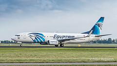 SU-GCM  Boeing 737-866(WL) - EgyptAir (Peter Beljaards) Tags: sugcm 737 boeing737 boeing737800 egyptair newsuezcanal sticker ams eham aircraft polderbaan schiphol nikond5500