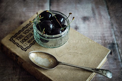 Bowl Of Cherries {1} (DefinitelyDreaming) Tags: lensbaby velvet56 stilllife food foodphotography cherries vintagebooks book textured texture kktexture