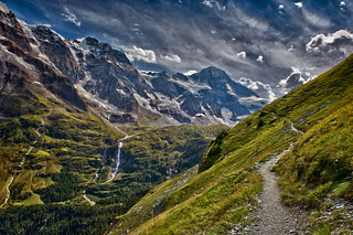 The Breithorn ,   the Schmadribachfall and the high road to Obersteinberg, Canton of Bern . Switzerland No. 7383.