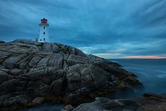 Peggy's Cove, Nova Scotia (B.E.K.) Tags: peggys cove lighthouse novascotia canada canada150 sunset outdoor landscape rocks water clouds longexposure nikond800