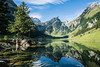 Morning light at Seealpsee (no.zomi) Tags: schweiz sui see seealpsee appenzell zeiss1635 zeiss sony a7 switzerland lakes alps mirror clear water säntis saentis variotessartfe41635