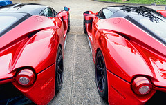 Twins, but not identical (Steve Corey) Tags: ferrari laferrari hypercar exoticcar supercar pair match twins fastcar carweek pebblebeach spanishbay montereycarweek