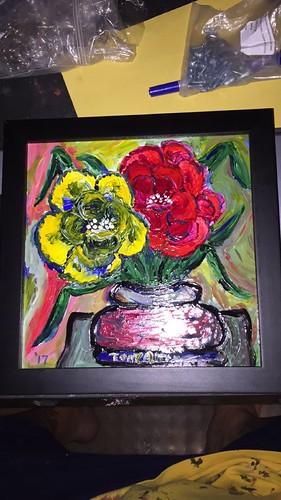 """""""Flowers"""", acrylic on 8x8 artist board."""