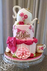 Lillian's 1st Birthday Cake (RebeccaSutterby) Tags: first birthday teaparty cake pink flowers gold glitter sequins teapot teacup bow