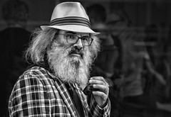 Sharp Dressed Dude (Jim-Mooney) Tags: bw black white blackwhite blackandwhite mono monochrome monotone streetphotography portrait people kansascity candid crossroads