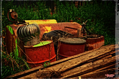Toxic Waste (MBates Foto) Tags: availablelight color daylight decay existinglight nikkorlense nikon nikond810 outdoors pacificnorthwest red saturated vivid washington wood yellow mead unitedstates 99205