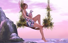 Moments In Paradise - 09/2017 (IvoryBouscario) Tags: sl secondlife swing pastel pink ocean sea water rocks woman female avatar virtual photo picture