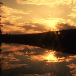 Lake Placid New York  ~  Evening Sunset  ~ Golden Reflection - Adirondack Mountain thumbnail