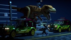 Jurassic Park: T. Rex Paddock Breakout (L-DI-EGO) Tags: lego jurassic park dinosaur ideas cuusoo film toy collectable movie ford explorer bathroom toilet gates tyrannosaurus rex car scene fence chaos
