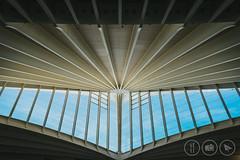 Beaky (Adrian Court LRPS) Tags: airport bio basque beams bilbao blue lebb lapalmo roof sky skylight sondica spain terminal windows bilbo euskadi es