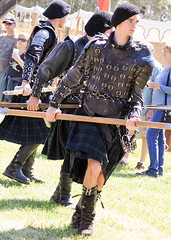 Scottish Halberdiers (GazerStudios) Tags: hats scottish kilts warriors battle boots livinghistory celtic 55300mm nikond90 weapons beards longhair yummy armor men renaissance 15thcentury halberds leather historicalreenactment berets crochet bracers groups