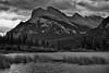 I Don't Think I Will Ever Tire of Seeing Mount Rundle! (Black & White, Banff National Park) (thor_mark ) Tags: nikond800e lookingse day1 triptoalbertaandbritishcolumbia blackwhite silverefexpro2 colorefexpro capturenx2edited banffnationalpark blueskieswithclouds canadianrockies evergreens hillside hillsideoftrees nature outdoors landscape mountrundle rundlepeaks trees vermilionlakesarea vermilionlakes lake nearsunset rockymountains mountains mountainsindistance mountainsoffindistance mountainsideofsansonpeak sulphurmountain outside cloudsaroundmountains hillsides grassymeadowalonglakeshore sunsettime sunsetlight project365 portfolio canvas southerncontinentalranges southbanffranges alberta canada