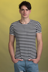 Adrian (PhotoMechanic.uk) Tags: male man guy dude youth model pose photoshoot studio ripped jeans tshirt fashion trendy casual blue striped stripes stand standing