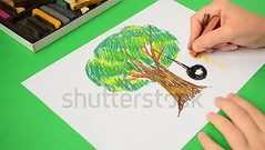 The children's drawing on paper. Drawing of a tree and swing. (daria.boteva) Tags: arden art background beautiful beauty cartoon child childhood crooked decoration design drawing ecology entertainment floral foliage fun graphic green grove growth happy illustration isolated kids landscape leaf line nature outdoors paper park pastel pink plant playing process rope school seasonal sketch summer swing symbol tire tree trunk tyre wood