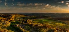 Evening Falls (Peter Quinn1) Tags: sunset evening summer light goldenhour stanageedge overstonesfarm fields peakdistrict darkpeak derbyshire gritstone millstonegrit